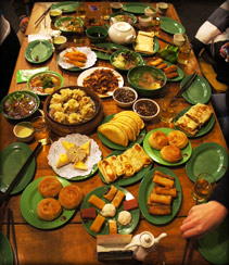 epic meal, family style in Beijing.  countless plates on the table, all filled with amazing treasures.